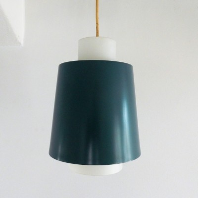 Vintage blue metal & white opaline glass pendant lamp, 1960's
