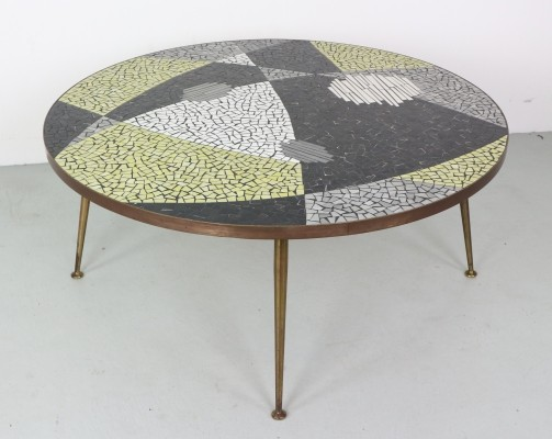 Large Round Berthold Muller Mosaic Coffee Table, Germany 1960s