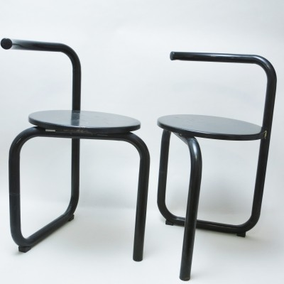 Pair of folding tubular chairs, 1980s