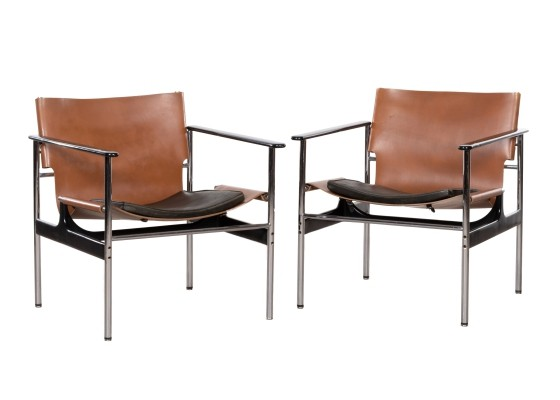 Pair of Model 657 arm chairs by Charles Pollock for Knoll International, 1970s