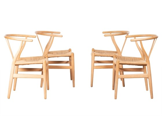 Set of 4 CH24 arm chairs by Hans Wegner for Carl Hansen & Søn, 1980s