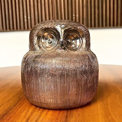 Ceramic Silver Owl by Aldo Londi for Bitossi, 1960s