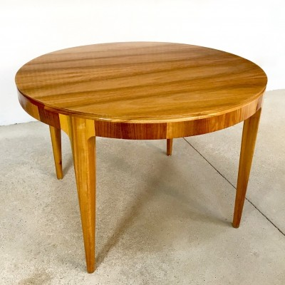 Large Round Walnut Hall & Side Table, Germany 1950s