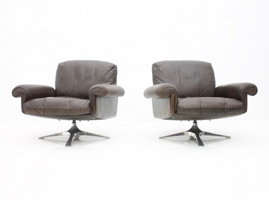 Pair of Swivel Leather DS 31 Lounge Chairs by De Sede, 1970s