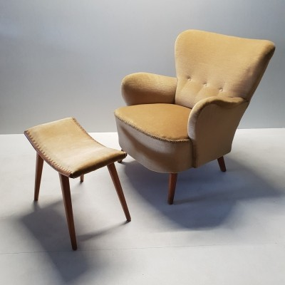 Yellow velvet club chair with ottoman by Theo Ruth, 1950s