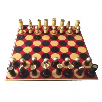 Painted & gilded wooden chessboard, 1970s