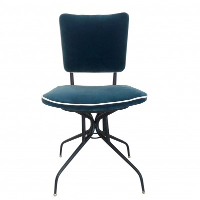 1950s Chair in metal & blue velvet with white borders, marked Gorgone Napoli