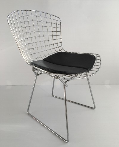 Vintage Chrome Side Chair & Seat Pad by Harry Bertoia for Knoll