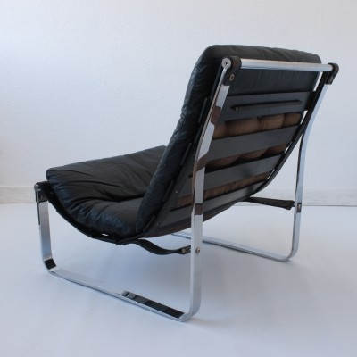 Scandinavian Leather & Chrome Sling Chair from Westnofa, c.1970