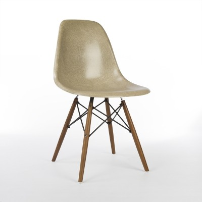 Greige Herman Miller Original Eames DSW Side Shell Chair