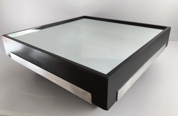 Italian Mirrored Black Ash Coffee Table, c.1970