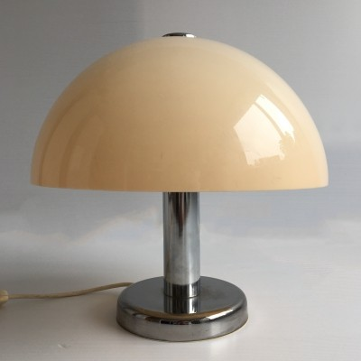 British Chrome & Lucite Mushroom Table Lamp, c.1970