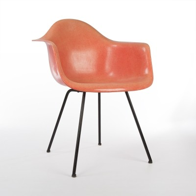 Orange 1st Generation Zenith Vintage Eames DAX Arm Shell Chair