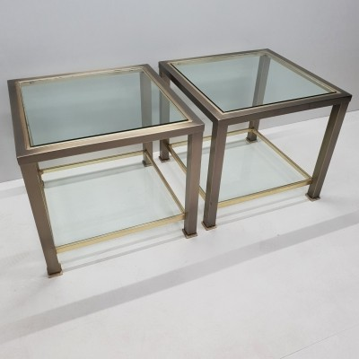 Pair of brushed steel, brass & glass side tables by Belgo Chrom