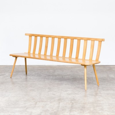 60s Wooden beech long seating bench