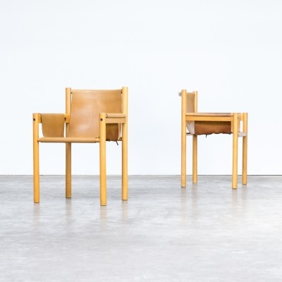 Pair of Camel brown leather dining chairs by Ibisco Sedie, 1970s