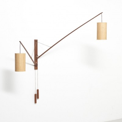 Wall lamp in teak by Rupprecht Skrip, 1950's