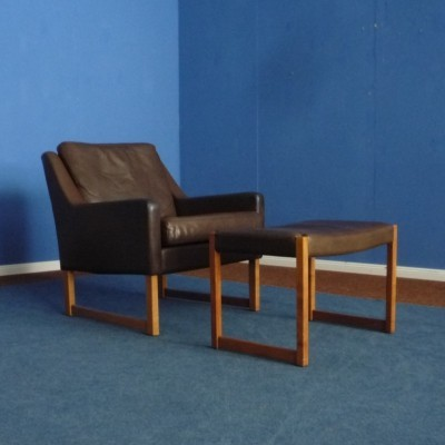Leather Armchair & Footstool by Rudolf Glatzel for Kill International, 1960s