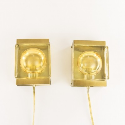 Pair of Maritim glass & brass Wall lamps by Vitrika, 1970s