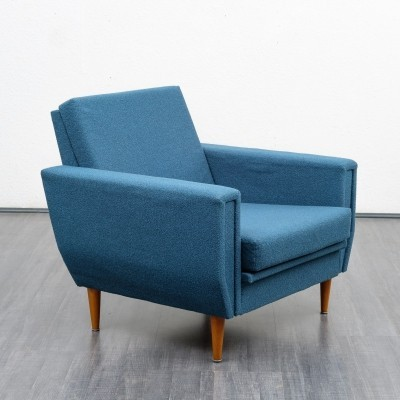 Pair of Straight-lined 1960s armchairs in petrol blue
