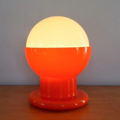 Decorative glass table lamp in orange & white