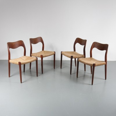 Set of 4 dinner chairs by Niels Otto Møller for Moller, 1950s