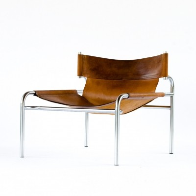 Brown leather 'SZ12' lounge chair by Walter Antonis for Spectrum, 1970s