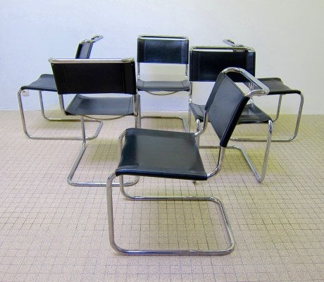 Set of 6 vintage Thonet S33 leather dinner chairs by Mart Stam, 1980s