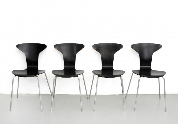 4 x 3105 - Mug - Mosquito dining chair by Arne Jacobsen for Fritz Hansen, 1960s