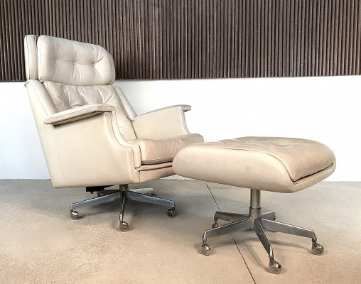 Off-White Tufted Leather Lounge Chair & Ottoman, 1960s