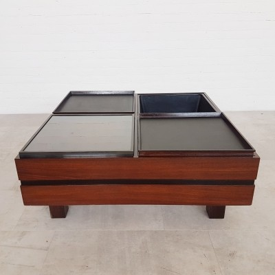 Sormani wooden coffee table with 4 compartments, 1960s