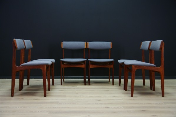 Set of 6 N. & K. Bundgaard Rasmussen dinner chairs, 1960s