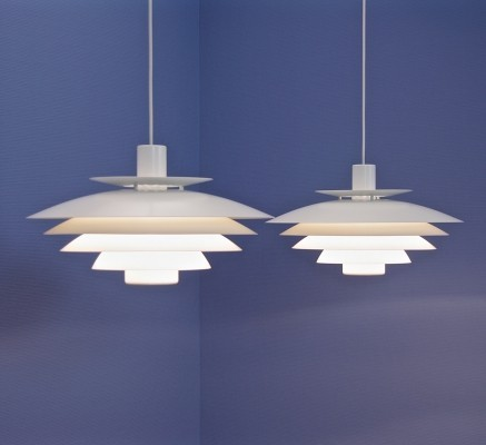 Set of 2 large danish pendants in white by Form Light, 1960s