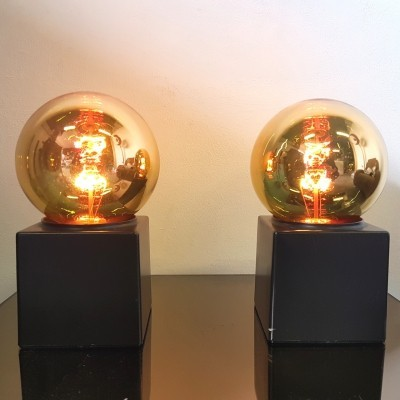 Cube lamp with bronze bulb by Philips, 1960s