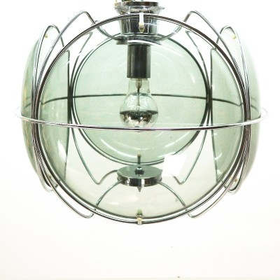 Space Age Ceiling Lamp with Smoked Glass Panes