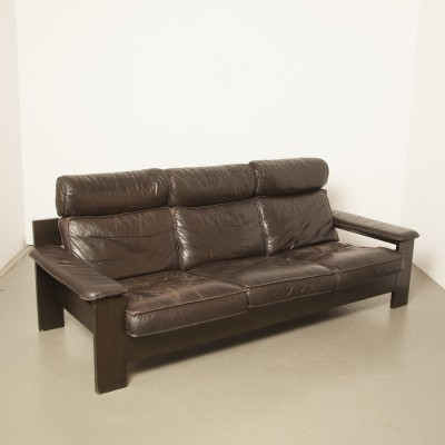 Black leather LeoLux sofa, 1970s
