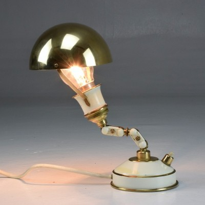 French Articulating Vintage Brass Table Desk Lamp, 1950's