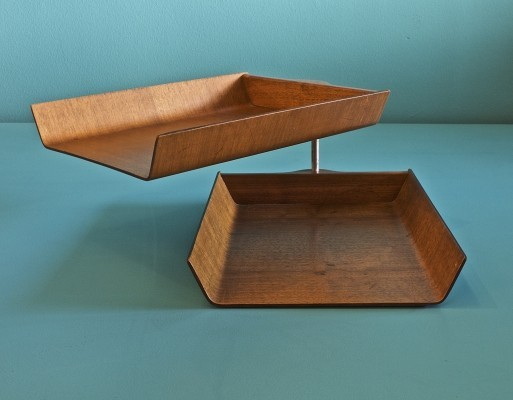 Two-tier molded teak & plywood letter tray by Florence Knoll, 1950s