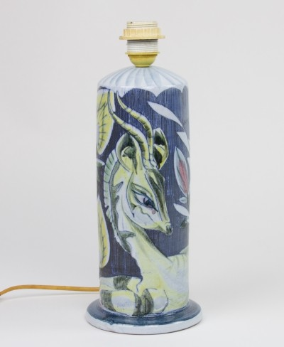 Ceramic lamp socket with dear & leaves by Marian Zawadzki for Tilgmans Keramik