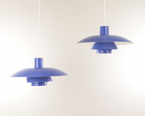 Pair of Blue PH 4/3 pendants by Poul Henningsen for Louis Poulsen, 1960s