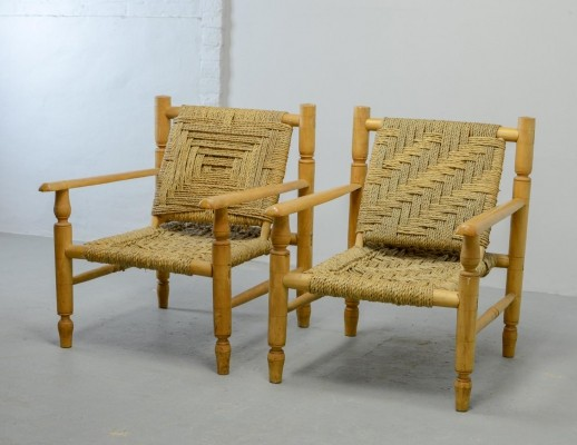 Pair of Mid-Century Design Wooden with Rattan Easy Lounge Chairs, 1960s