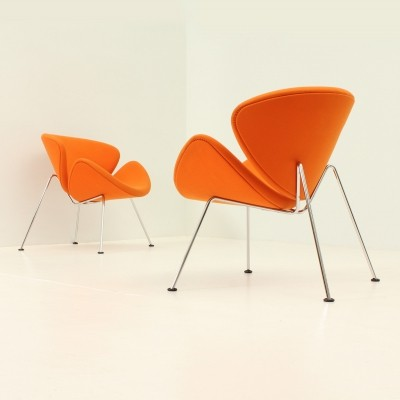 Pair of Orange Slice Chairs by Pierre Paulin, 1970s
