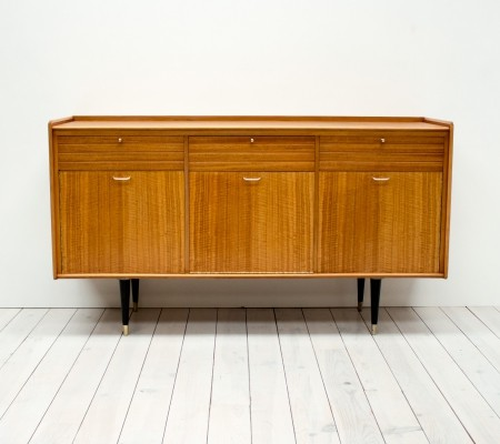 1950s Tiger Maple & Brass Sideboard