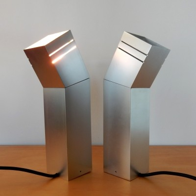 Set of 2 'Glimwormpje' table-, wall- or ceiling lamps by Elburg for Raak, 1970's