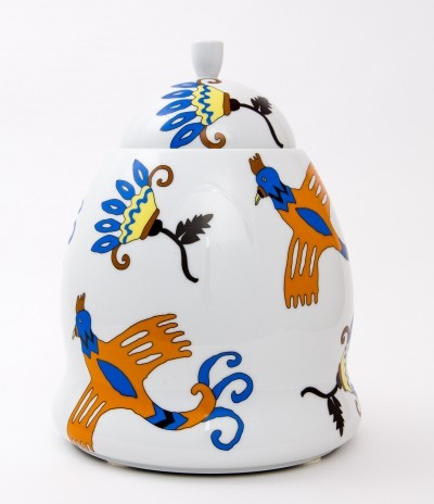 Ceramic Centerpiece by George Sowden for Alessi, decorated by Nathalie du Pasquier