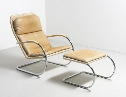 Tubular 'D35' lounge chair with ottoman by Anton Lorenz for Tecta, 1980s