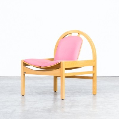 70s 'argos' plywood & fabric lounge chair for Baumann