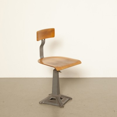 Singer work stool with grey frame, 1920s