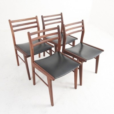 Four Danish midcentury dining chairs in rosewood & black skai