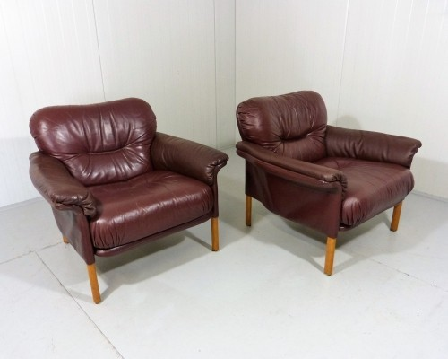 1960's Leather Lounge Chairs by Hans Olsen